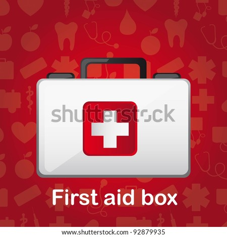 first aid box over red medical background. vector illustration - stock vector