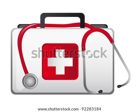 first aid box with stethoscope over white background. vector - stock vector