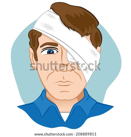 First aid dressing bandages with bandage on head and eye - stock vector