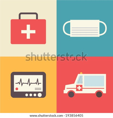 First aid, emergency icons set. First-aid kit, bandage, ECG and emergency car. Medical vector illustration made in flat design. - stock vector