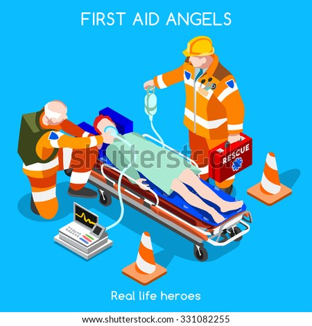 First Aid Emergency Intensive Care Hospital Department. Patient Resuscitation Medical Intervention. 3D Flat Isometric People Collection. Patient and Doctor Volunteer Rescue Team Vector Illustration - stock vector