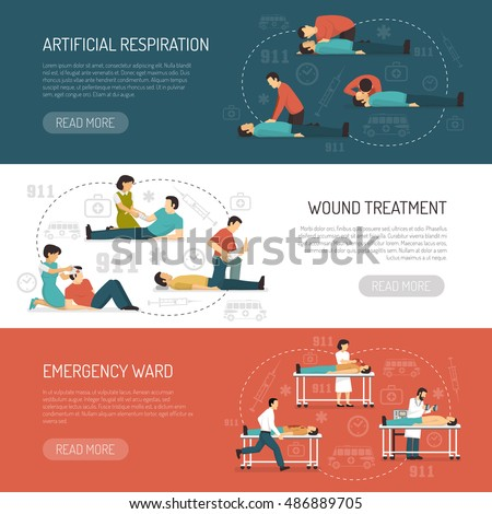 First aid 3 flat horizontal banners design with breathing respiratory assistance and emergency ward isolated vector illustration