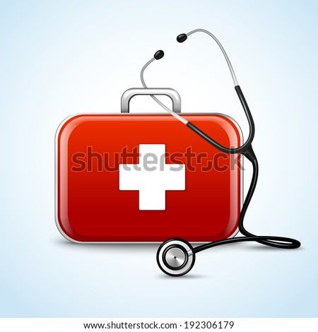 First aid healthcare concept with medical box and stethoscope vector illustration - stock vector