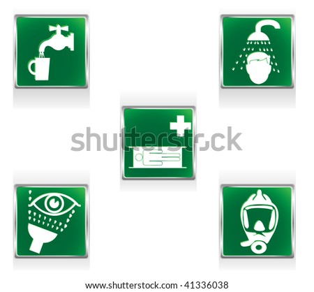 First aid icons representing five situations requiring special care. Linear and radial gradients. - stock vector
