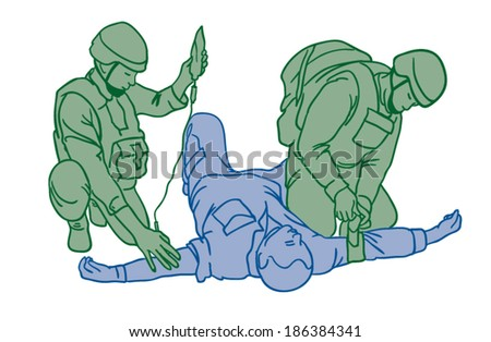 Helping Wounded Soldiers Clip Art