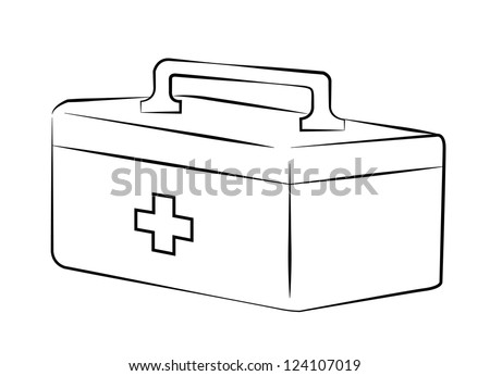 Band Aid Clipart Black And White First aid kit black lines onFirst Aid Clipart Black And White
