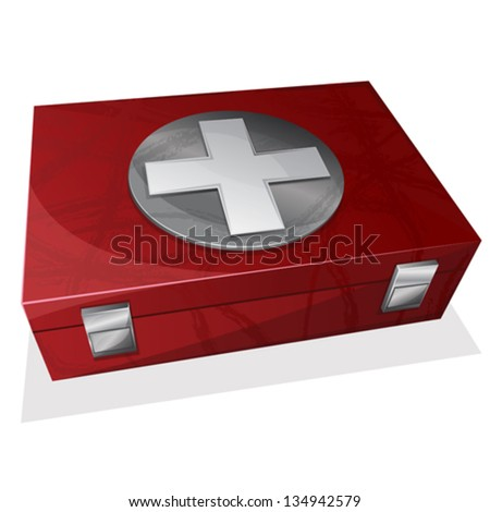 First aid kit box - stock vector
