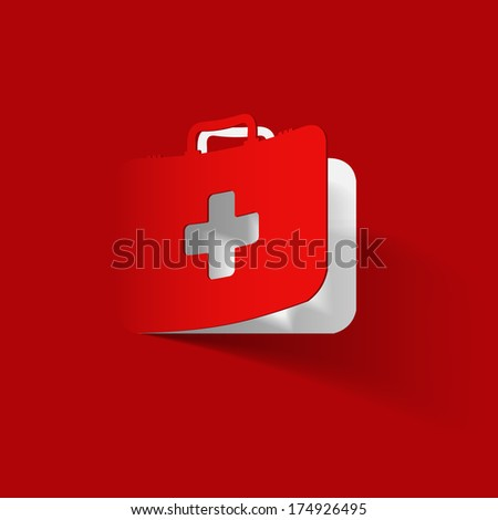 First Aid kit box, paper sticker - stock vector