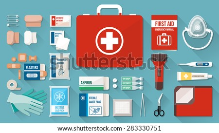 First aid kit box with medical equipment and medications for emergency, objects top view - stock vector