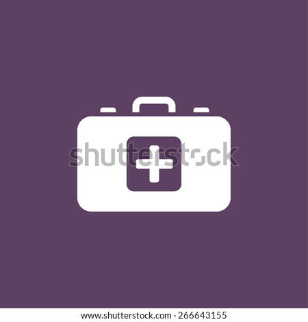 First aid kit flat icon. Health care - stock vector