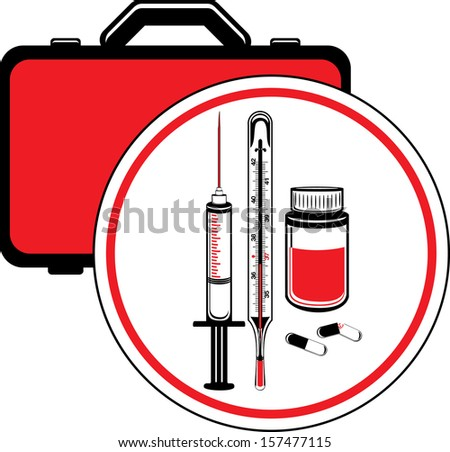 First aid kit. Icon for design. Vector - stock vector