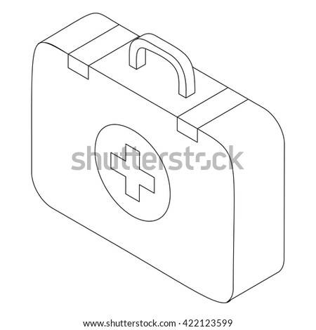 First aid kit icon, isometric 3d style - stock vector