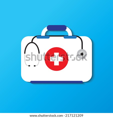 first aid kit, medical kit - stock vector
