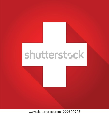 first aid long shadow icon, vector symbol - stock vector