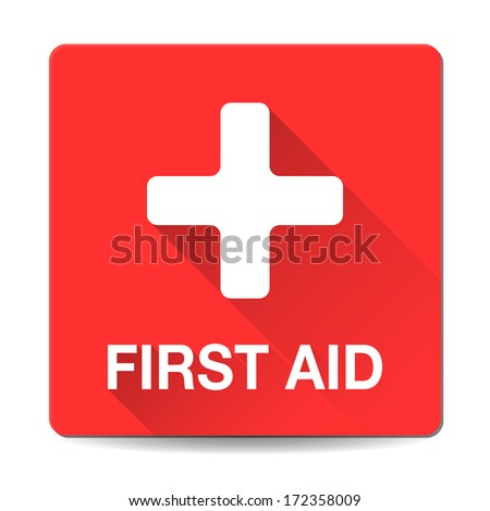 First aid medical button sign in flat style with long shadows. Vector - stock vector