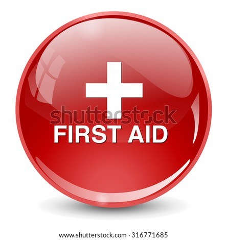 First aid medical button sign isolated on white.  - stock vector