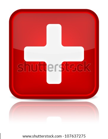 First aid medical button sign with reflection isolated on white. Vector illustration - stock vector