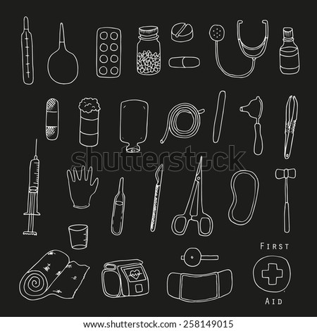 First aid. Medical equipment. Freehand illustration. Chalkboard. - stock vector