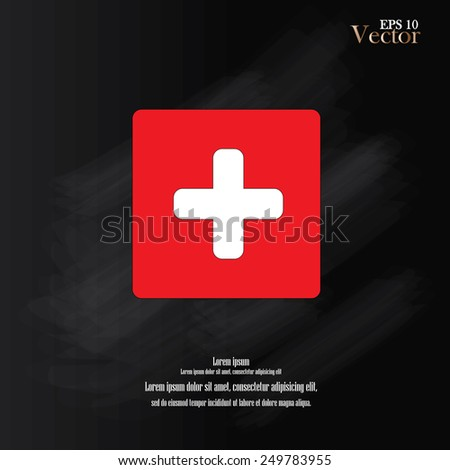 first aid sign on red texture.first aid sign vector.first aid sign on chalkboard - stock vector
