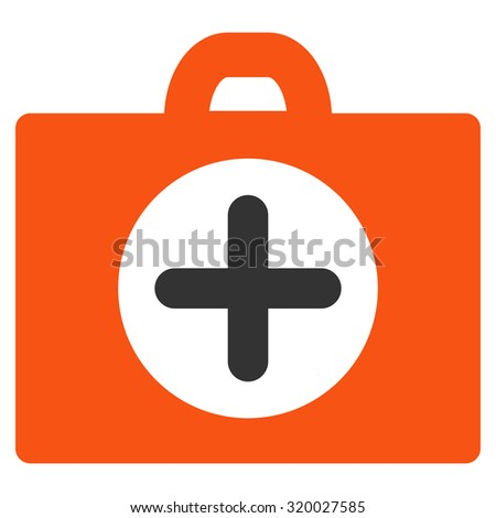 First Aid vector icon. Style is bicolor flat symbol, orange and gray colors, rounded angles, white background.