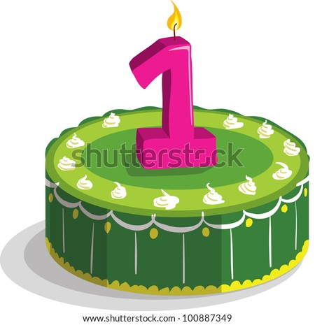First Birthday Cake - stock vector