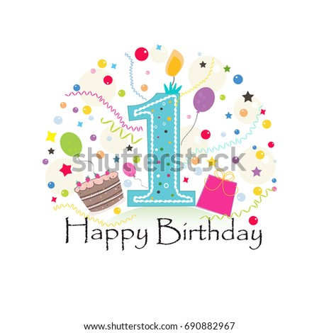 First birthday greeting card cake balloon stock vector royalty free first birthday greeting card with cake balloon gift box birthday greeting card m4hsunfo