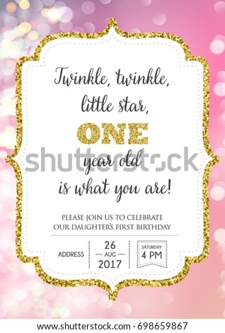 Vetor stock de first birthday invitation girl one year livre de first birthday invitation for girl one year old party printable vector template with pink stopboris