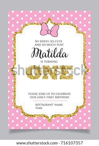 First birthday invitation girl one year stock photo photo vector first birthday invitation for girl one year old party printable vector template with pink stopboris Choice Image