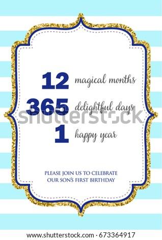 First Birthday Invitation Girl One Year Stock Vector HD Royalty