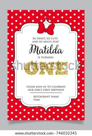 First Birthday Invitation Girl One Year Stock Vector 712600474
