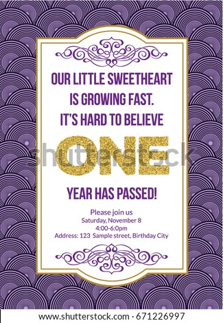 First birthday invitation girl first birthday stock vector 671226997 first birthday invitation girl first birthday party invitation one year old purple printable invite stopboris Gallery