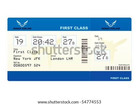 First class boarding pass or plane ticket with destination - stock vector