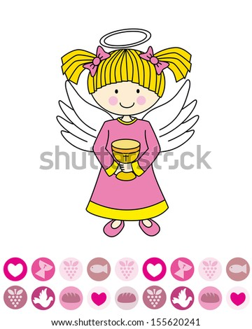 first communion. Angel with a chalice. - stock vector