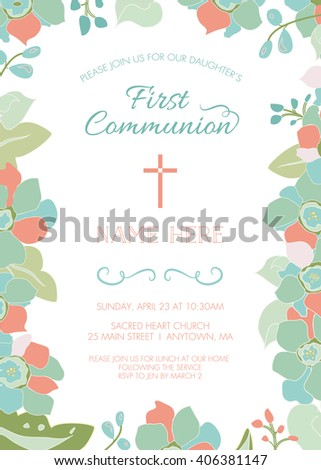 dominion card template - first communion baptism christening invitation card stock