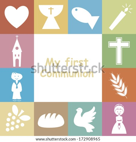 First Communion Invitation Card - stock vector