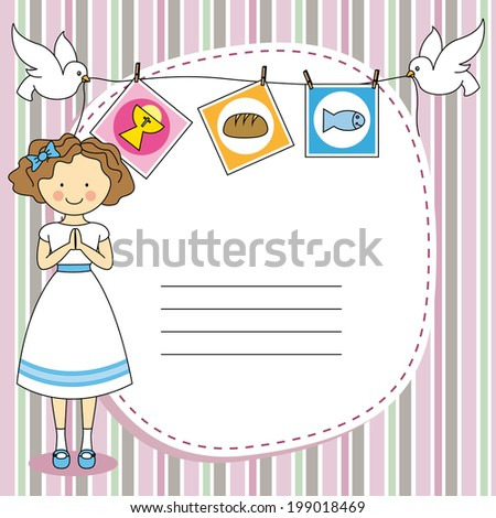 First Communion Invitation Card. Girl