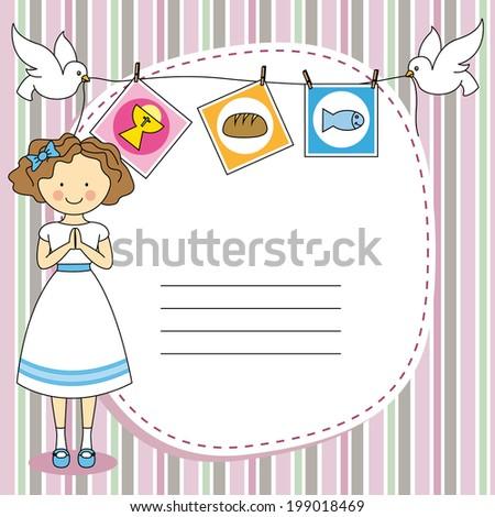 First Communion Invitation Card. Girl - stock vector