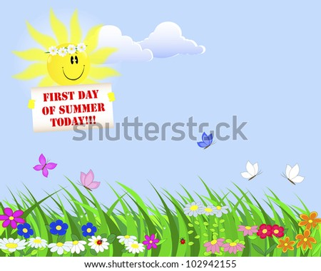 First Day of Summer. Summer landscape with a nice sun with a placard. 10eps. Vector Illustration.