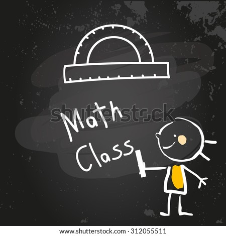 First grade math class education, hand drawn on blackboard with chalk. Hand drawing and writing doodle style, sketchy illustration.  - stock vector