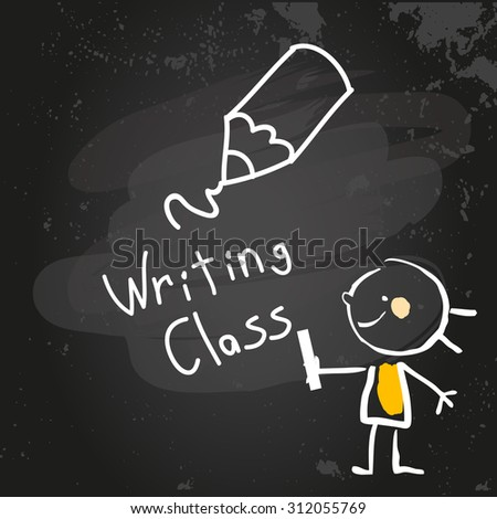First grade writing class education, hand drawn on blackboard with chalk. Hand drawing and writing doodle style, sketchy illustration.  - stock vector