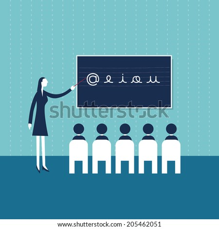 First graders in a classroom with a teacher - stock vector