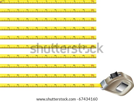 First hundred inches of a yellow steel measure tape in blocks of ten. All artwork in real size 1:1