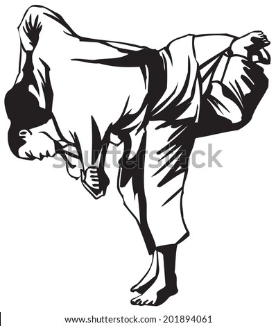 First judo fight stage three - stock vector