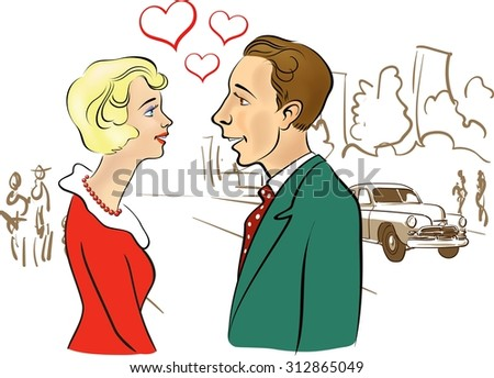 First meeting of young man and woman.Retro style.Hand drawn artwork.Design elements are isolated on with background. It Can be used for flayers, banners, posters. Elegant design with text space.Vector - stock vector