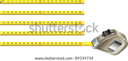 First meter of a yellow steel measure tape in blocks of twenty centimeters each. All artwork in real size 1:1 - stock vector