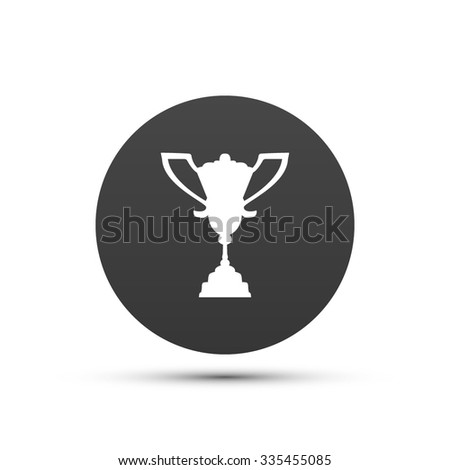 First Place Award Cup. Flat Style Achievement Icon. Vector Illustration.
