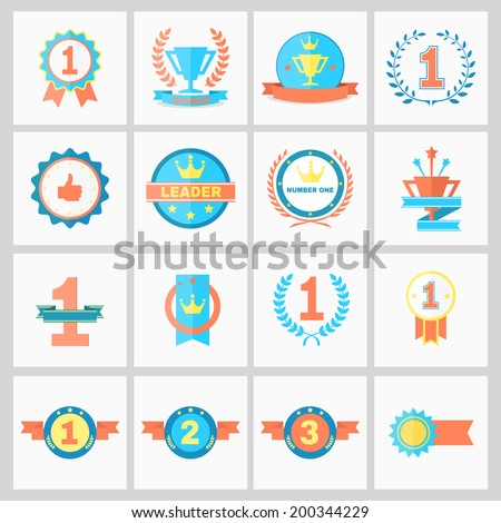 First Place Badges and Winner Ribbons vector illustration - stock vector