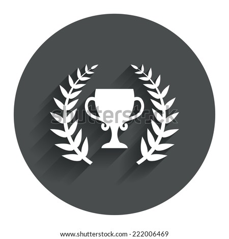 First place cup award sign icon. Prize for winner symbol. Laurel Wreath. Circle flat button with shadow. Modern UI website navigation. Vector