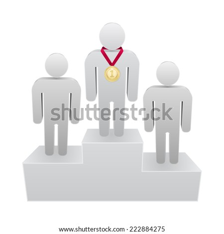 first place podium 3d - person with medal design