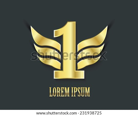 First place symbol. Golden design number one with wings - stock vector